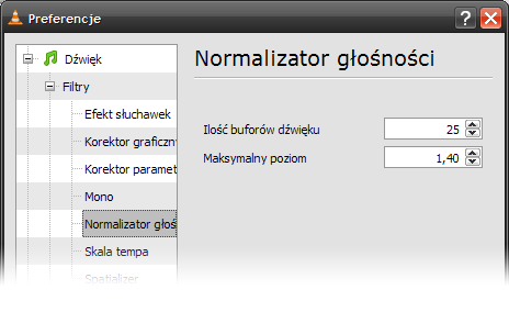 VLC - preferencje - normalizacja głośności
