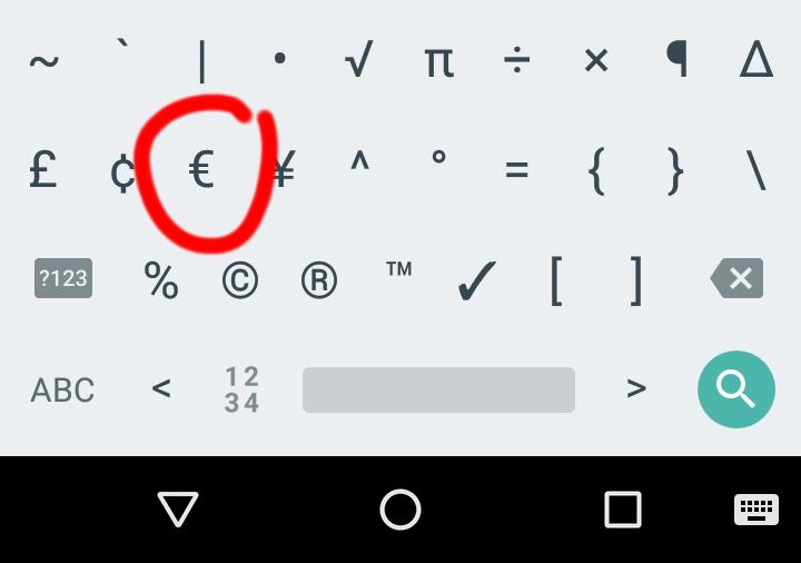 Tutaj znajduje się znak euro na klawiaturze Androida