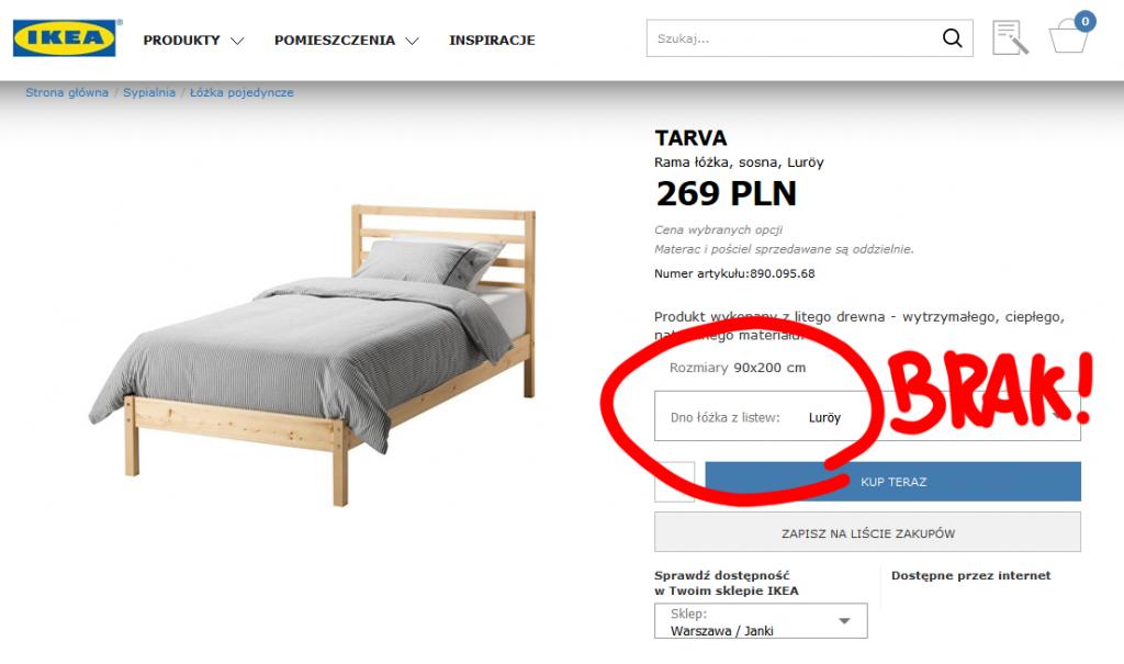 IKEA łóżko Tarva