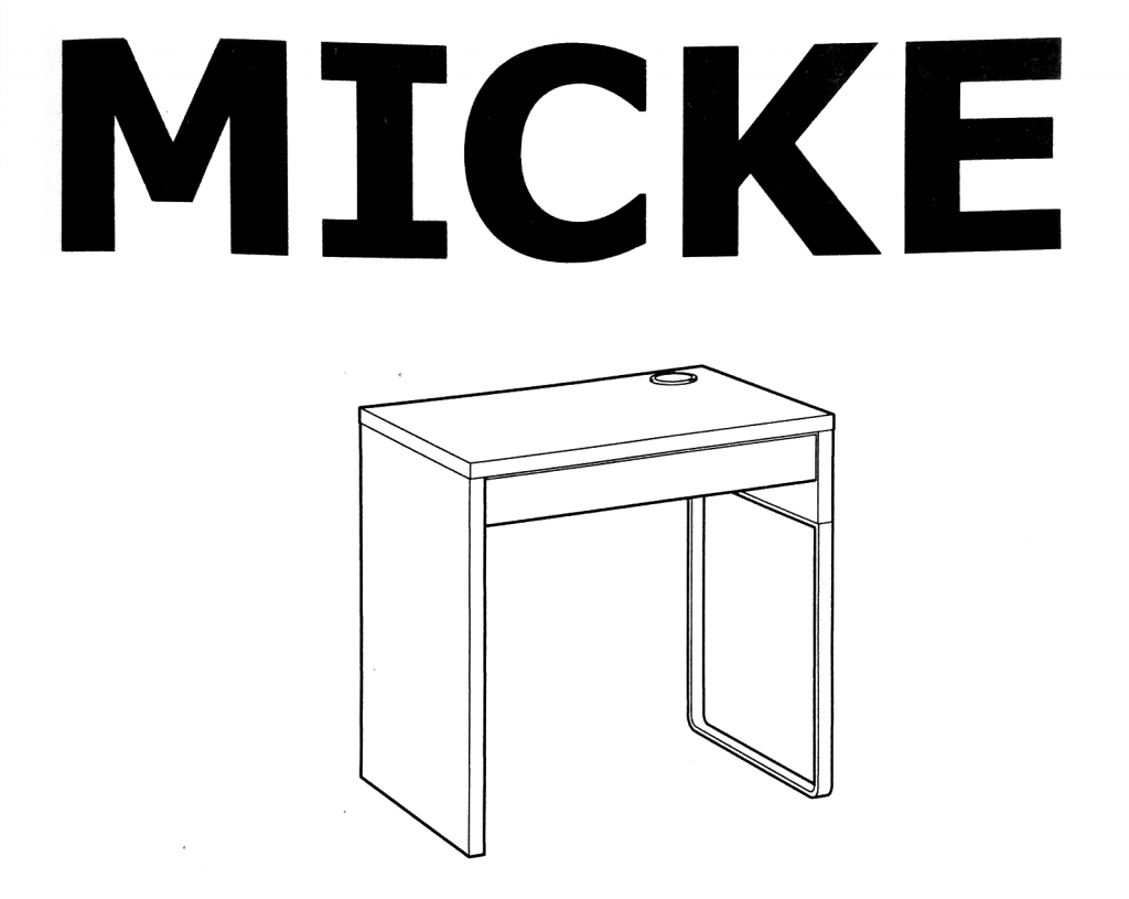 Okładka instrukcji montażu biurka Ikea Micke