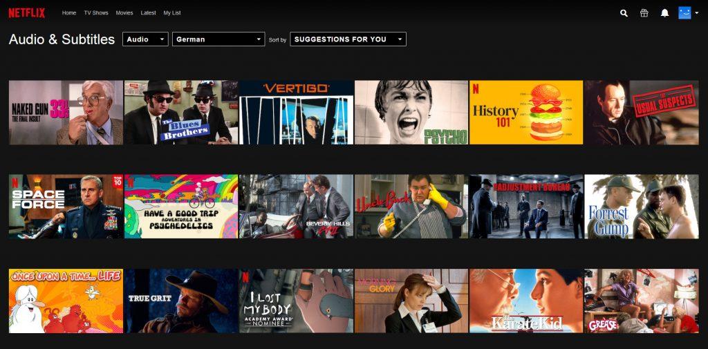Netflix - lista filmów po niemiecku