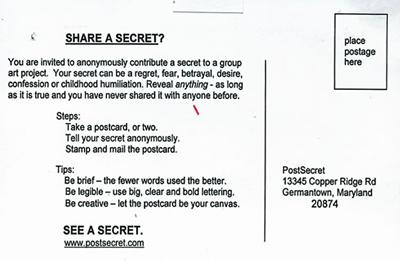 Kartka pocztowa Post Secret